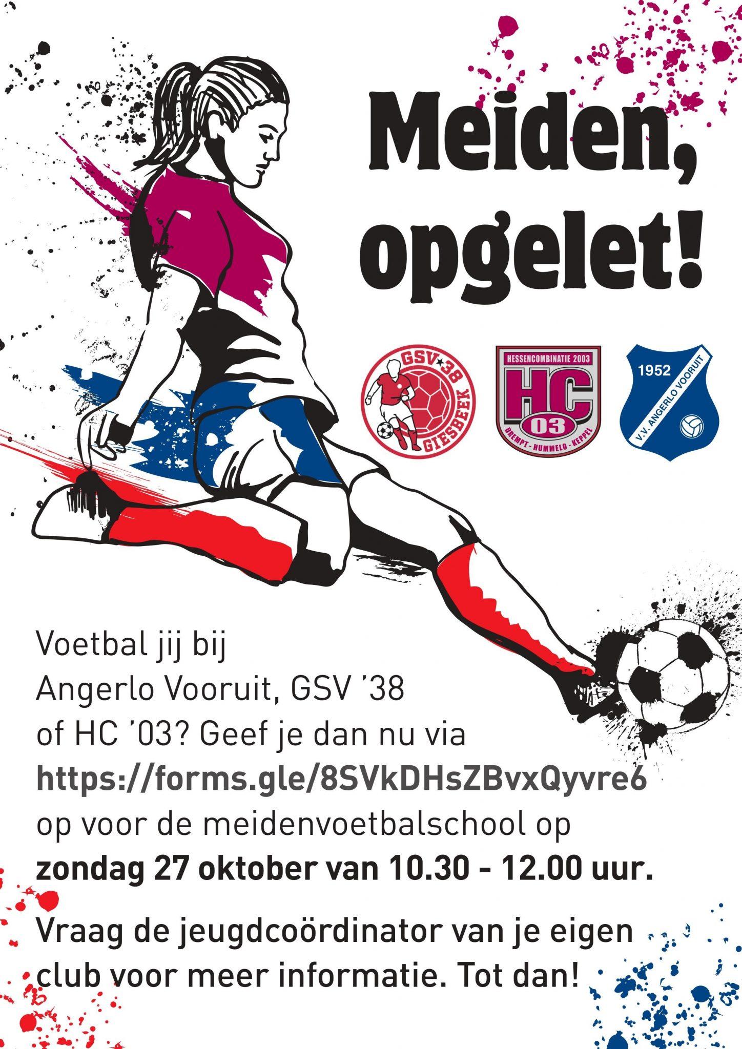 Meidenvoetbalschool op 27 oktober