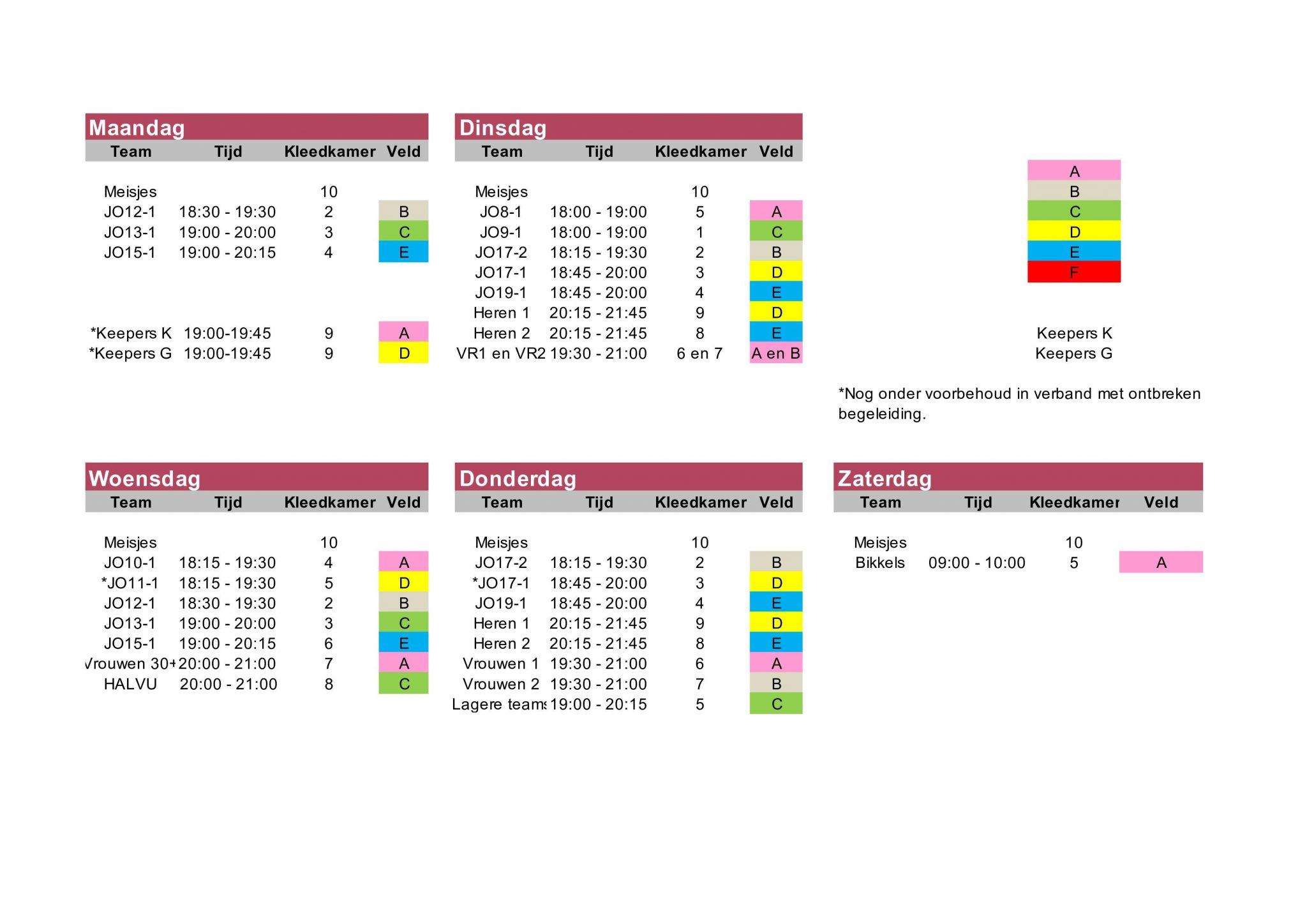 Trainingsschema 21-22